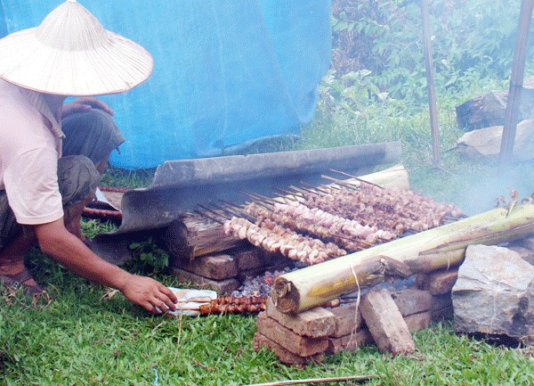 Những xiên thịt nướng được nướng trên bếp hồng